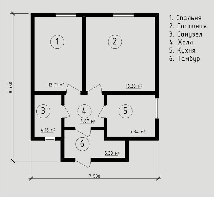 """Проект дома из sip-панелей 52,53 м2. Компания """"Авантаж"""", г.Новосибирск."""