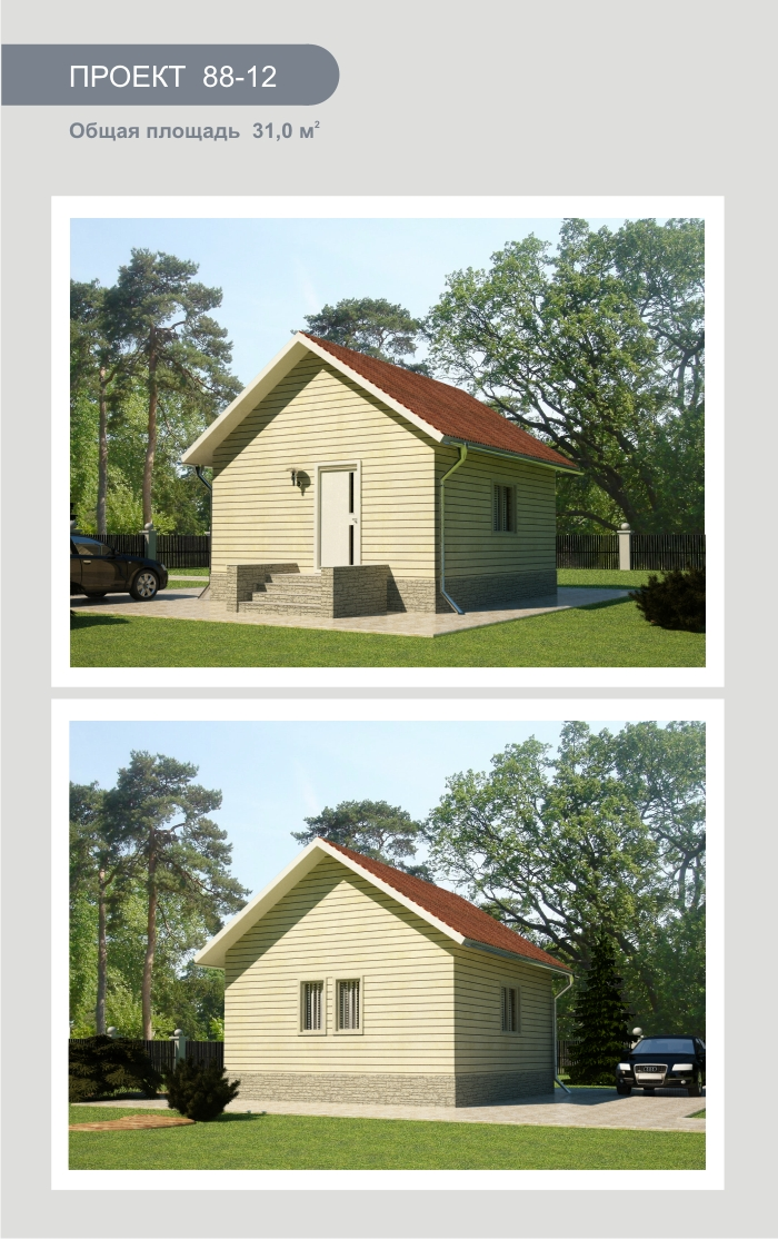 """Проект дома из СИП-панелей 31,0 м2. Компания """"Авантаж"""", г.Новосибирск"""