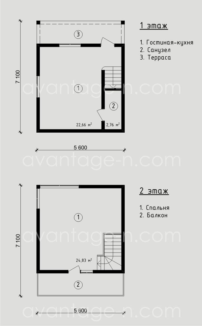 "Проект дачного дома из СИП панелей 50,13 м2. Компания ""Авантаж"", г.Новосибирск"