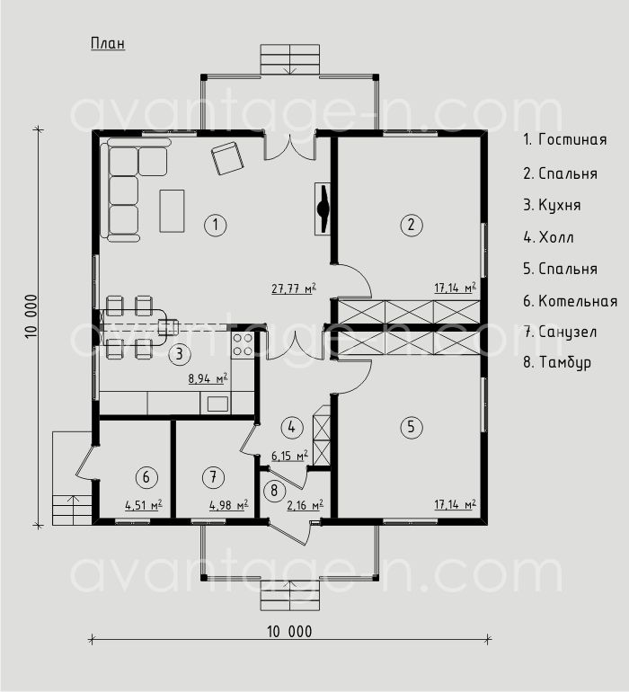 """Проект дома из СИП-панелей 88,79м2. Компания """"Авантаж"""" г.Новосибирск"""
