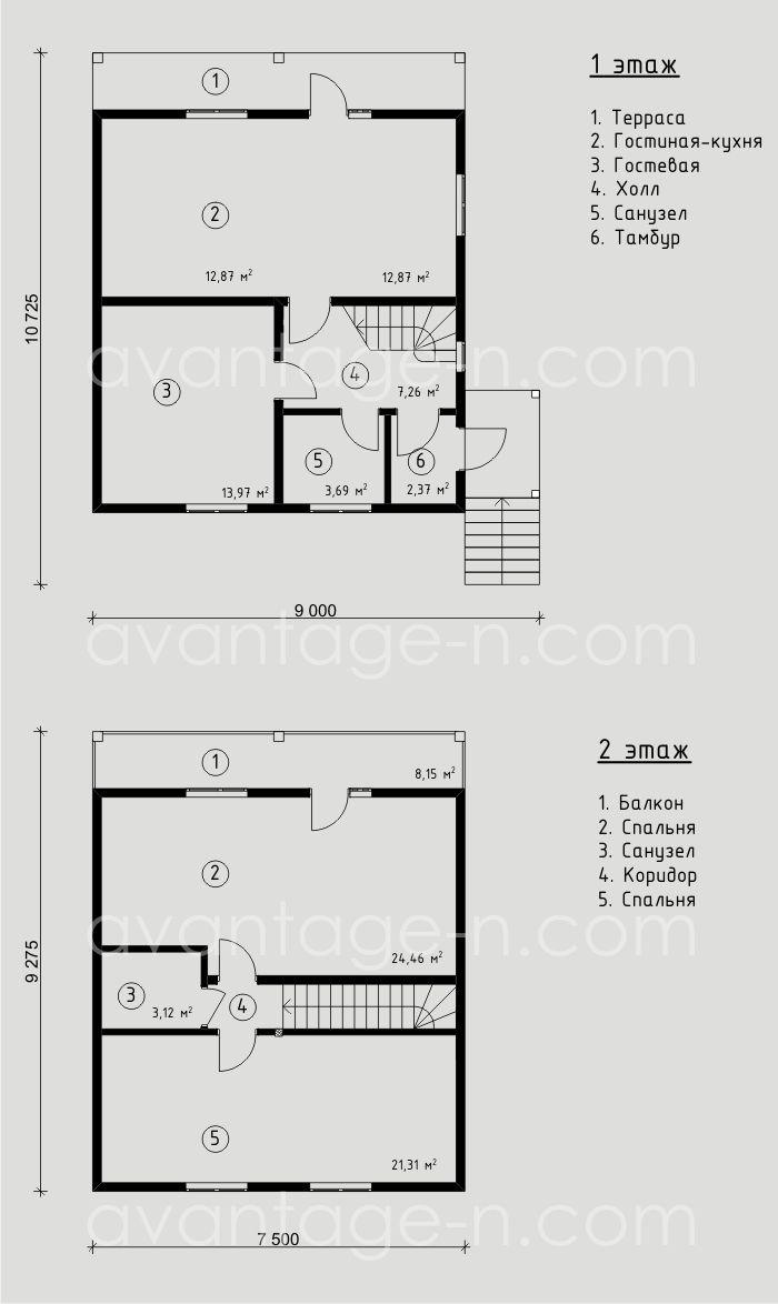 """Проект дома из СИП-панелей 103,29м2. Компания """"Авантаж"""" г.Новосибирск"""