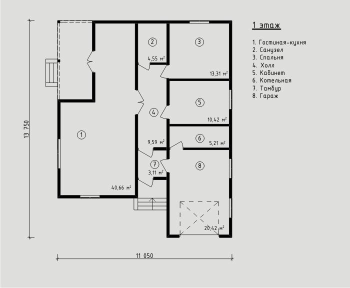 """Проект дома из СИП-панелей 107,27м2. Компания """"Авантаж"""" г.Новосибирск"""