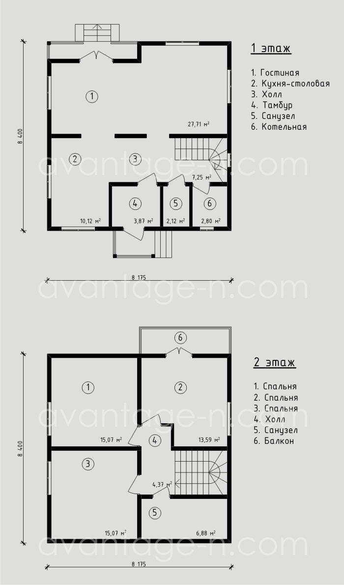 """Проект жилого дома из сэндвич-панелей 107,0 м2. Компания """"Авантаж"""", г.Новосибирск."""