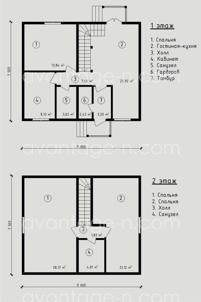"""Проект жилого дома из СИП панелей 110,65 м2. Компания """"Авантаж"""", г.Новосибирск"""