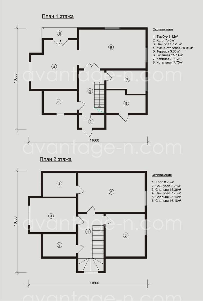 """Проект каркасного малоэтажного дома из сэндвич-панелей , изготовленных компанией """"Авантаж""""."""