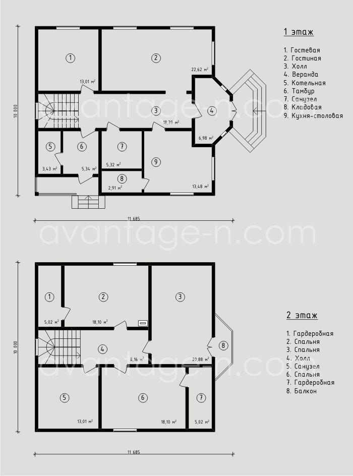 """Проект жилого дома из СИП панелей 179,8 м2. Компания """"Авантаж"""". г.Новосибирск."""