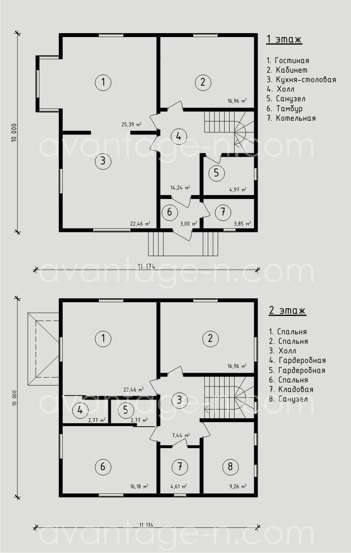 """Проект дома из СИП панелей 173,3 м2. Компания """"Авантаж"""", г.Новосибирск."""