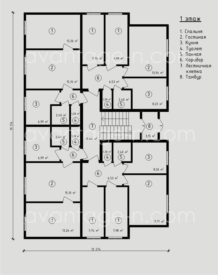 """Проект многоквартирного жилого дома из сип-панелей 390,5 м2. Компания """"Авантаж"""", г.Новосибирск"""